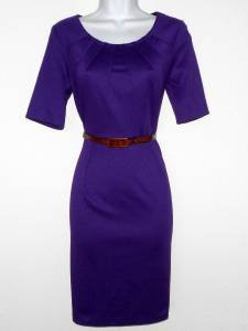 Connected Apparel Dress Size 10P Grape Purple Knit Pleated Belt Career New