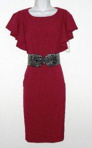 Calvin Klein CK Dress Size Sz 4 Burgundy Sheath Ruffle Sleeve Snake Belt NWT