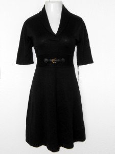 Calvin Klein Black Sweater Dress Large L Elbow Sleeve Buckle Flare Knit NWT
