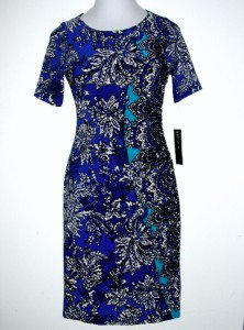 Jones New York NY Dress Size 12 Blue Teal Boho Print Stretch Ruched NWT