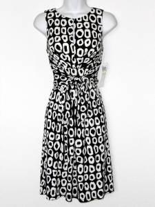 Maggy London Dress Black White O Print Stretch Tie-Waist Versatile NWT