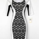Sangria Dress Black White Colorblock Print Stretch Cocktail Petites NWT