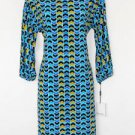 Calvin Klein Dress Size 6 Blue Multi Zigzag Geometric Print Stretch NWT