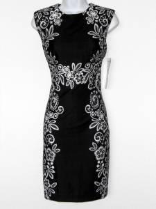 Karin Stevens Dress Black White Floral Mirror Print Stretch Sheath Petites NWT