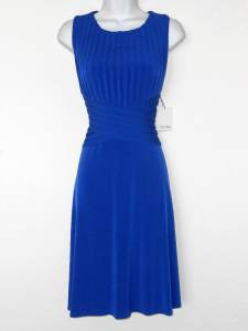 Calvin Klein Dress Atlantis Royal Blue Shutter Pleat Stretch Fit and Flare NWT