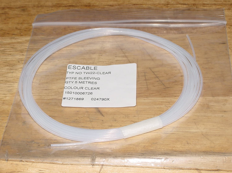 PTFE Teflon clear Tube 197inch 1/32inch  2pcs.
