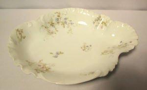 Haviland & Co H & Co Limoges Oval Vegetable Bowl Blue & Pink Flowers