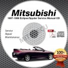 1997-1999 Mitsubishi Eclipse incl Spyder DSM Service Manual CD ROM shop repair