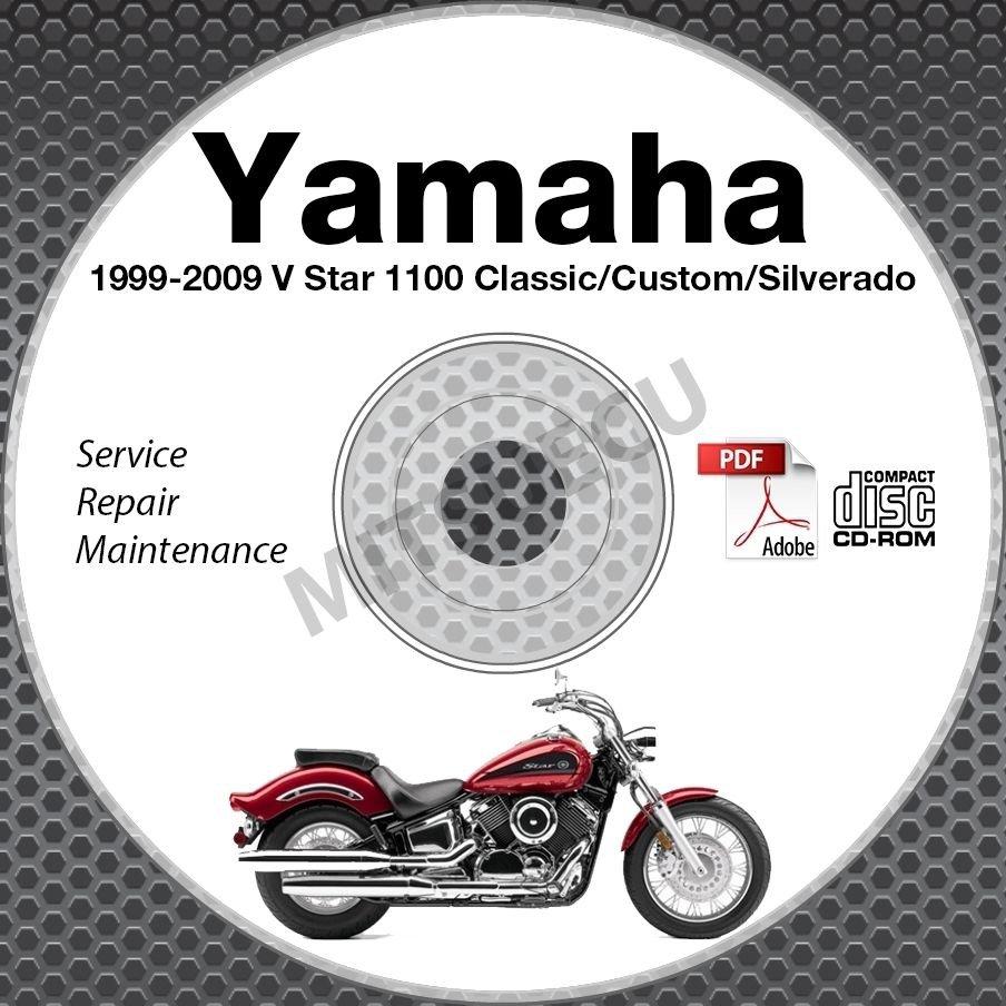 1999-2009 Yamaha V Star 1100 Classic Custom Silver Service Manual CD repair shop