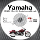 1999-2009 Yamaha V Star 1100 Classic Custom Silver Service Manual CD repair shop