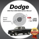 2002 Dodge Ram 2500 and 3500 Trucks (all engines) Service Manual CD shop repair