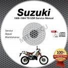 1989-1994 Suzuki TS125R Service Manual CD ROM Repair shop 1990 1991 1992 1993