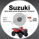 2008-2009 Suzuki LT-A750 KingQuad 750 Service Manual CD ATV Repair LTA750XP
