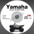 2007-2009 Yamaha Grizzly 700 Service Manual CD ROM repair shop 2008 YFM7FGPW
