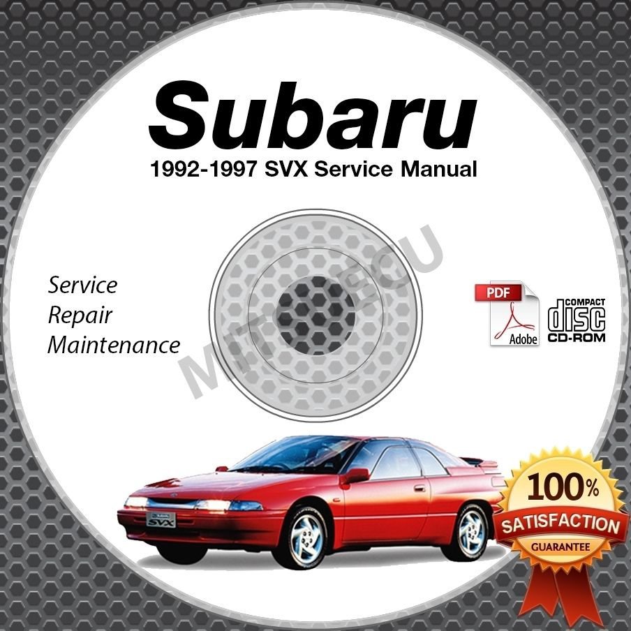 1992-1997 SUBARU SVX Service Manual CD repair shop 3.3L 1993 1994 1995 1996