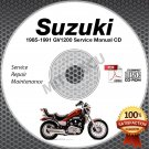 1985-1991 Suzuki GV1200 Madura Models Service Manual CD ROM 1986 1987 1988 1989