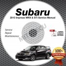 2013 SUBARU IMPREZA WRX & STi Service Manual CD Sedan + Hatchback repair shop
