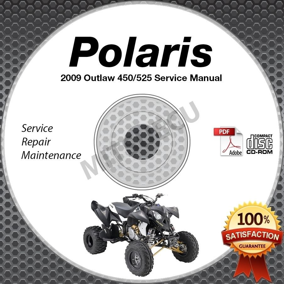 2009 Polaris OUTLAW 450 MXR, 525 S IRS ATV Service Manual CD ROM shop repair