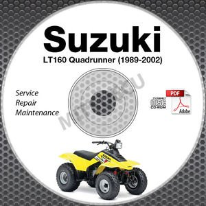 1989-2002 Suzuki LT160 Quadrunner Service Manual CD ATV Repair 90 91 92 93 94 95