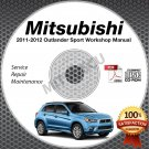 2011-2012 Mitsubishi Outlander Sport RVR 2.0L Service Manual CD ROM repair shop