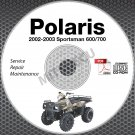 2002-2003 Polaris Sportsman 600 / 700 Service Manual CD ROM ATV