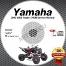 2006 2007 2008 Yamaha RAPTOR 700 R YFM700 Service Manual CD ROM repair shop