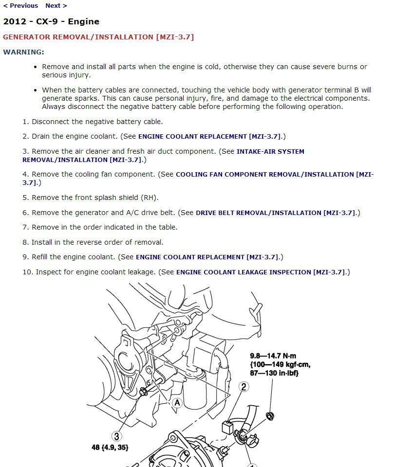 2012 Mazda CX-9 Service Manual CD ROM workshop repair 3.7L MZR V6 CX9