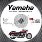 2007 Yamaha V Star 1300 Standard + Touring Service Manual CD repair shop