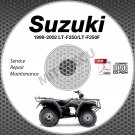 1999-2002 Suzuki LT-F250 /  LT-F250F QuadRunner Service Manual CD ROM 2000 2001