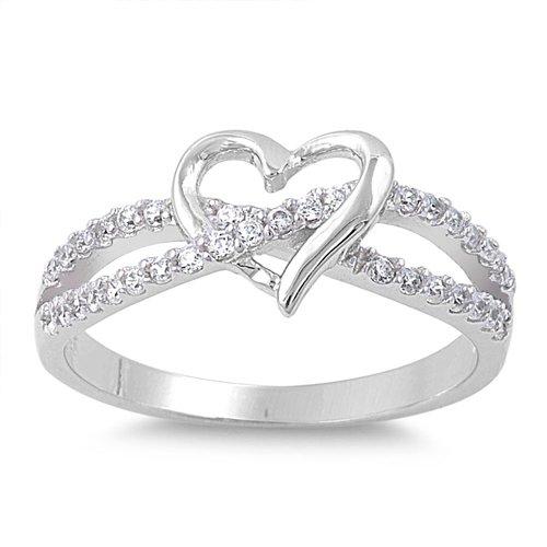 INFINITY LOVE KNOT HEART CZ Sterling Silver Promise Ring Promise Sterling Silver