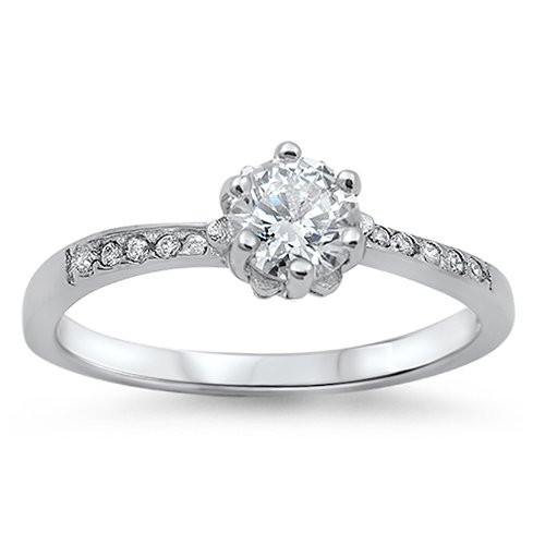 1CT ROUND CUT CZ SOLITAIRE ENGAGEMENT RING Sterling Silver Sterling Silver