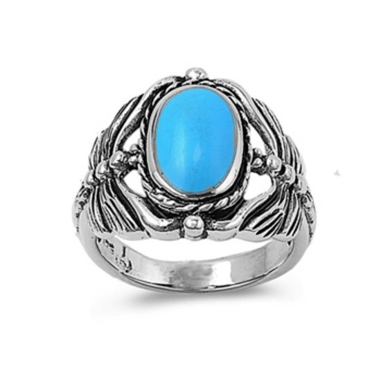 Silver Ring W/ Stone - Dragonfly Natural TURQUOISE .925 Solid Sterling Silver Ri