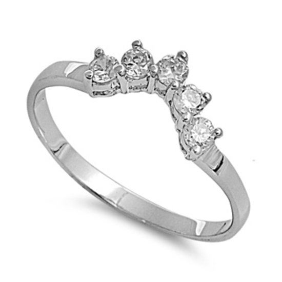 Five-Stone Brilliant Cut CZ Wedding Ring Guard Sterling Silver  Wedding Ring
