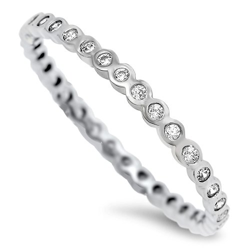 2MM BEZEL CLEAR STACKABLE CZ ETERNITY BAND Sterling Silver Eternity Ring Sterlin
