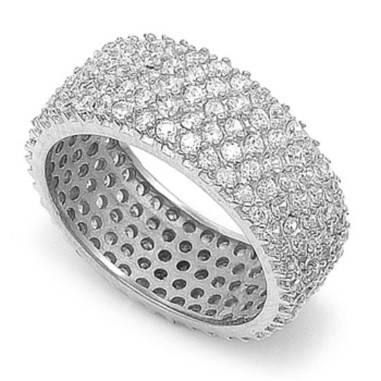 Five Row Micro Pave CZ 8mm Eternity Wide Band Ring 925 Sterling Silver Sterling