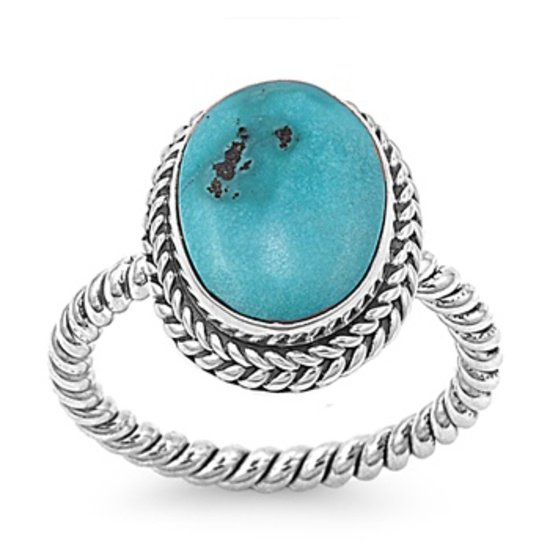 Silver Ring W/ Stone Natural TURQUOISE .925 Solid Sterling Silver Ring