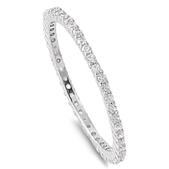 Thin Rhodium Silver CZ Stackable Eternity Ring Sterling Silver 1.5 mm CZ CLEAR