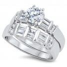 Sterling Silver 1CT Brilliant Cut CZ Wedding Ring Set with Baguettes Bridal