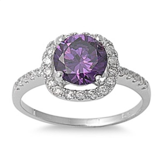 Round Cut Amethyst CZ Solid 925 Sterling Halo Solitaire Promise Ring Sterling Si