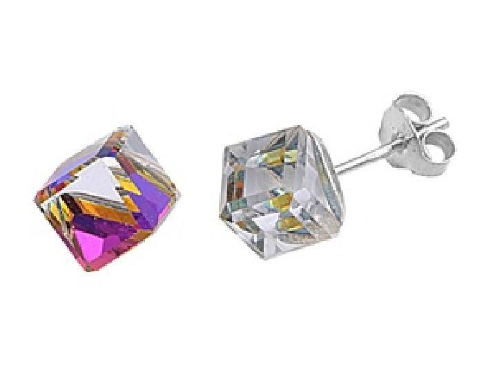 MULTICOLOR 9mm Crystal Cube Rainbow Color Cubic Zirconia Stud Earrings Sterling