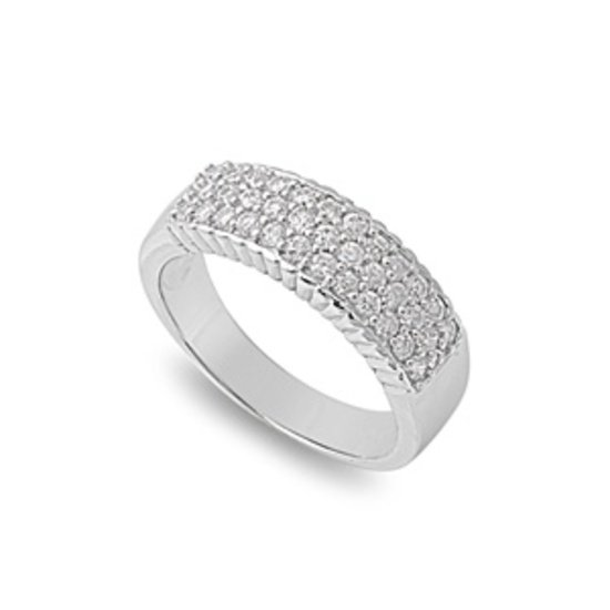 TRIPLE ROW ROUND MICRO PAVE CZ Sterling Silver Anniversary Band Wedding Ring 6mm