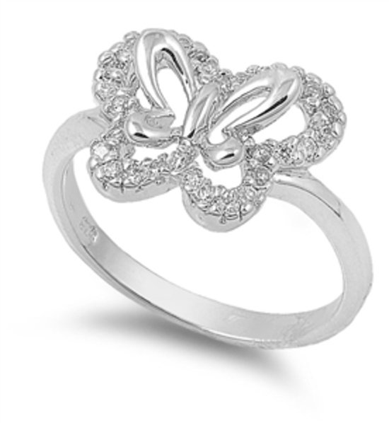Silver Butterfly Design Cubic Zirconia Fashion Ring Solid Sterling CLEAR