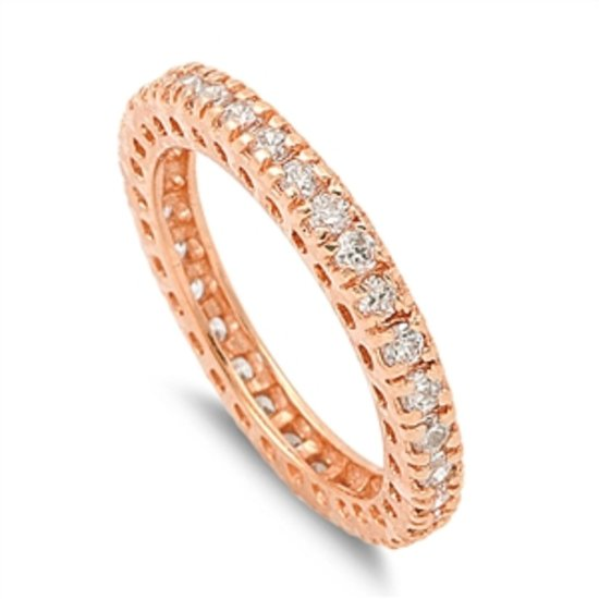 3MM STACKABLE CZ ETERNITY WEDDING BAND Rose Gold Sterling Silver Ring Sterling S