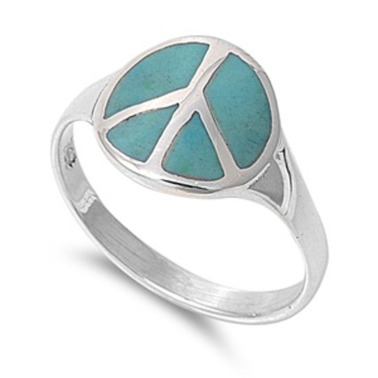 Genuine Turquoise Stone Peace Sign Ring 925 Solid Sterling Silver Band Natural G
