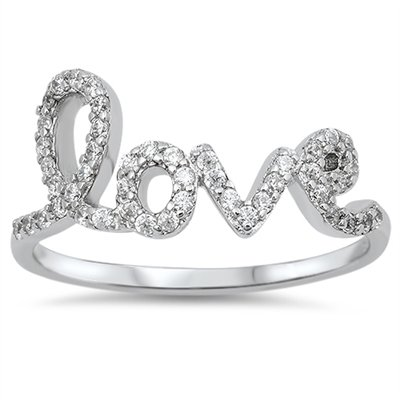 PAVE CZ LOVE SCRIPT FASHION RING .925 Solid Sterling Silver Love Ring Sterling S