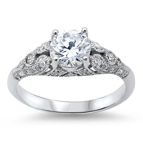 1CT ROUND VINTAGE STYLE CZ Sterling Silver Bridal Engagement Ring Size 5-10 Ster