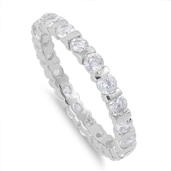 3MM ROUND CZ ETERNITY WEDDING BAND RING Sterling Silver Sterling Silver  Wedding