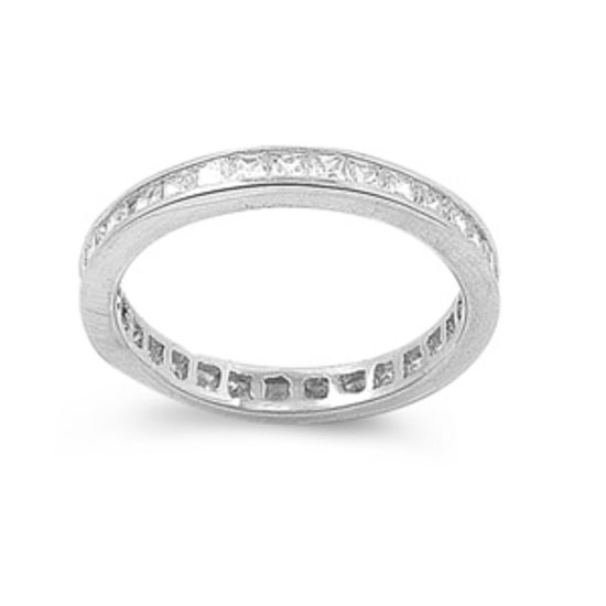 4mm Silver Princess Cut Cubic Zirconia Wedding Band Ring Sterling Silver 4mm Wed