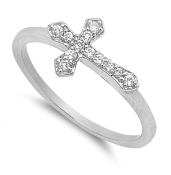 Silver STERLING SILVER SIDEWAYS CROSS CZ Designer Fashion Ring Solid Sterling CL
