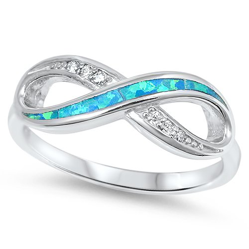 THIN STYLE BLUE FIRE OPAL CZ INFINITY KNOT RING Sterling Silver Band Size 5-10 P